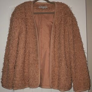 Faux fur like sweater cardigan